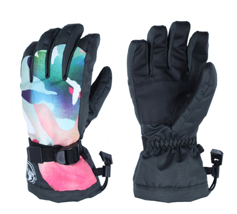 Womens pink camouflage ski gloves full fingers mittens thermal riding skiing gloves winter outdoor sports gloves waterproof 10K