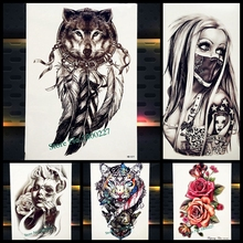 Dreamcatcher Wolf Totem Temporary Tattoo Stickers For Women Body Art Fake Flash Tattoo Dream Catcher Wings Tatoo Men Arm Leg