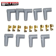 WOLFIGO New Spark Plug Wire Male HEI Style Rubber Boots Terminals Ends Connector Set Grey Color