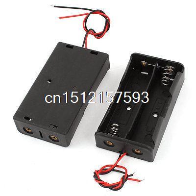 2Pcs Black Plastic Battery Holders Cases Boxes for 2 x 3.7V 18650 Batteries 2017 liitokala 2pcs new protected for panasonic 18650 3400mah battery ncr18650b with original new pcb 3 7v