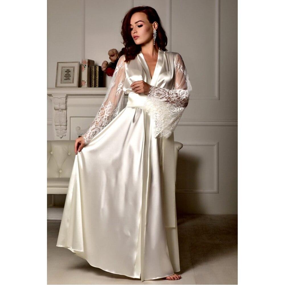 HTB182E4XgFY.1VjSZFqq6ydbXXaf 4 Colors Womens Solid Silk Satin Robe Sexy Lace Nightgown Pajamas Sleepwear Kimono Babydoll Dress XL