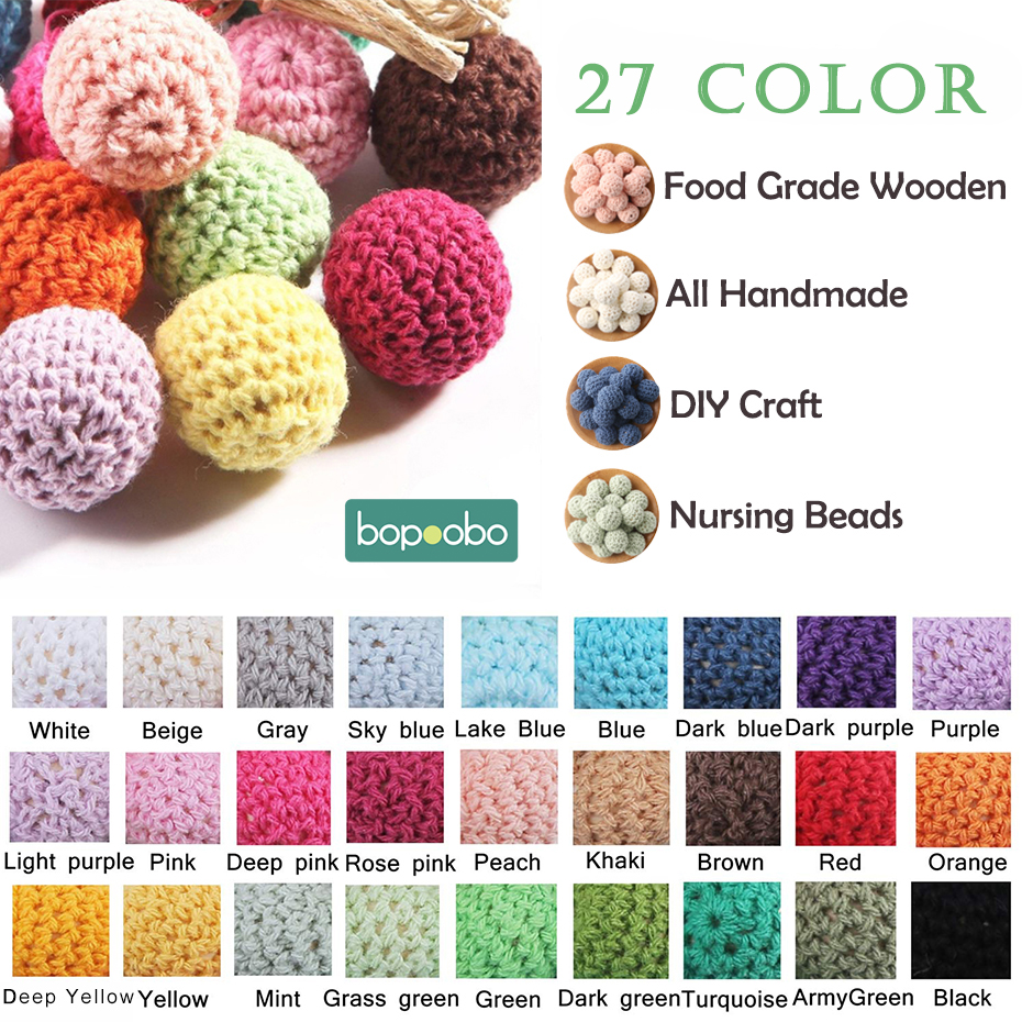 Bopoobo 50pc 20mm Natural Wooden Crochet Beads Decoration Inside Wooden Teething Beads Wooden Toys Beads Baby Teether