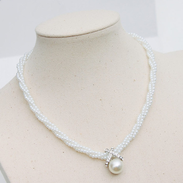 High Quality fashion charm style stunning twist imitation pearl necklace jewelry wholesale short cross Freeshipping