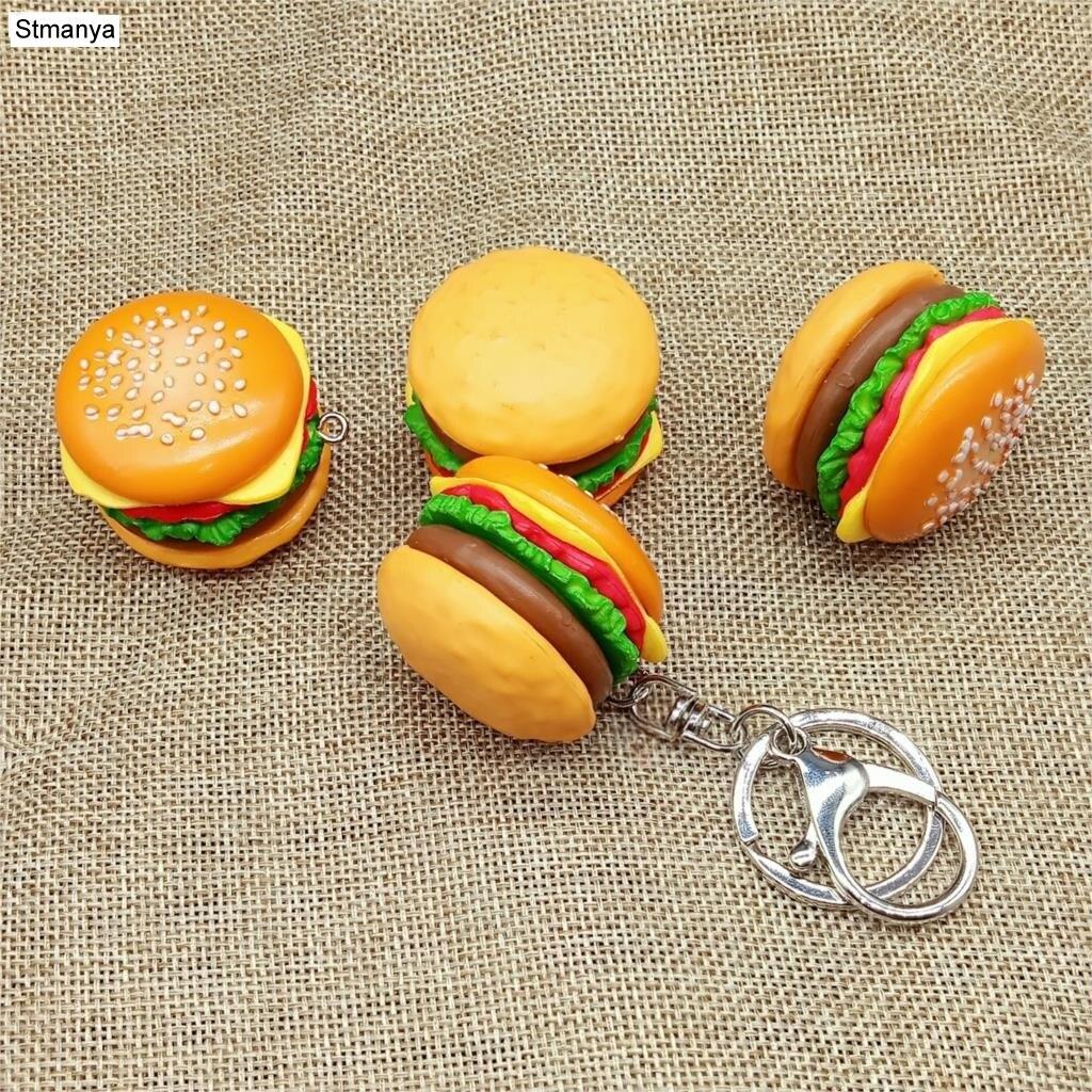 New Simulation Hamburger Key Chain Creative Pendant Bag Charm Accessories Handmade Resin Food Car Key Ring Lovely Keychain K1712