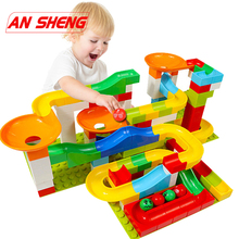 52-296pcs DIY Construction Marble Race Run Maze Balls Track Kids Children Gaming Building Blocks Toys Compatible Duploe 105pcs diy construction marble race run maze balls building blocks deluxe marble race game toys kids christmas xmas gifts toys