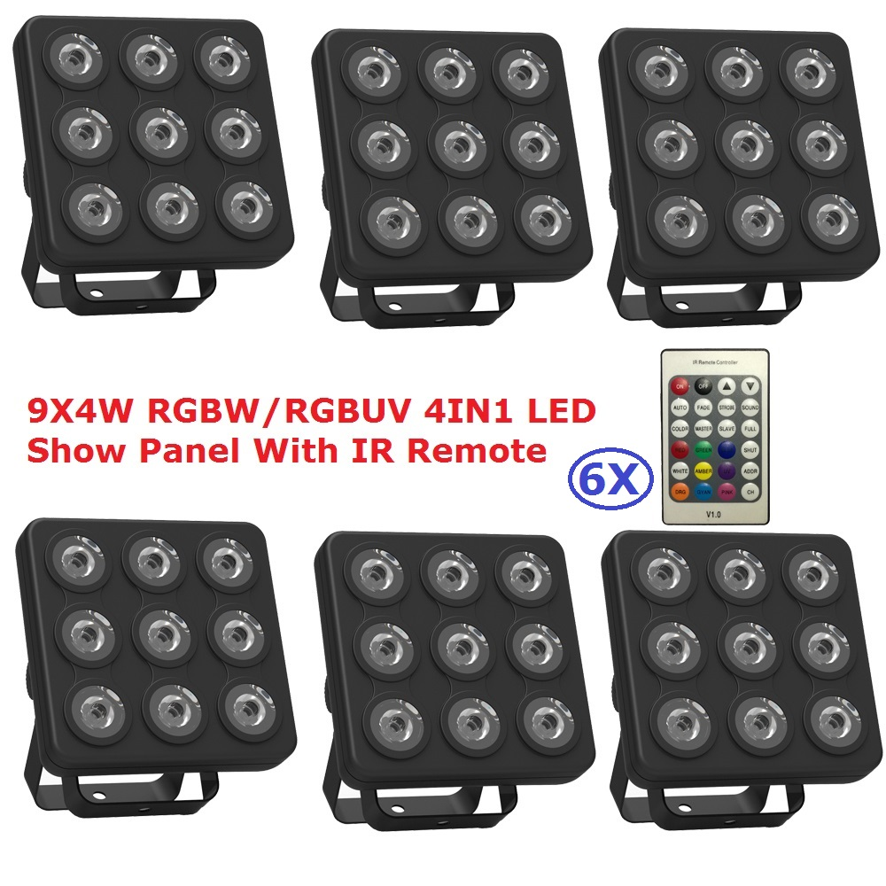 LED Par Light 9X4W RGBW/RGBUV 4IN1 LED Show Panel Flat Par Can Beam Wash DJ DMX Par Light American DJ Plastic Led Flat Par Light
