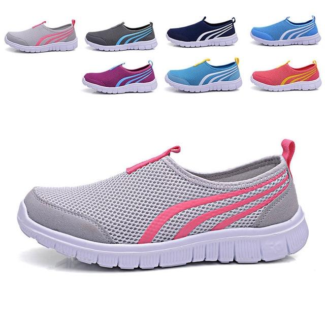 2016 NUEVA Moda casual shoes, barato de Los Hombres Para Caminar Zapatos de los planos de los hombres transpirable Zapatillas Casuales 7 colorea el tamaño 34-44