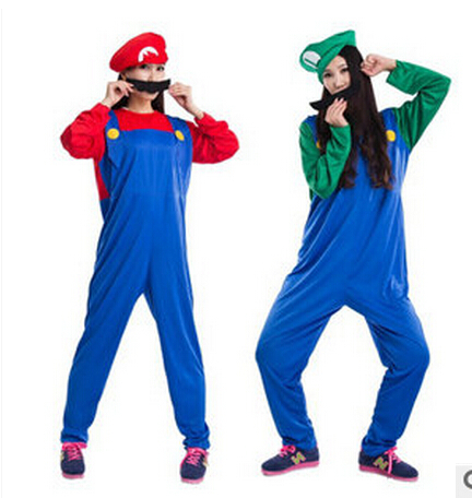 FREE SHIPPING Halloween Costume Mario Cosplay clothing Louis clothing adult super Marie clothing