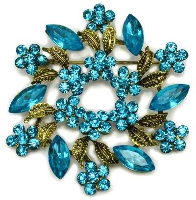 2 дюйма под бронзу Винтаж брошь с завитками с красным Хрустальные Стразы Свадебная вечеринка брошки с цветами - Окраска металла: Blue