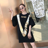 TREND Setter 208 Spring Fashion Loose V Sequins T shirt Women Ruffles Sleeve Letter T shirt Black Cotton Oversize Tee