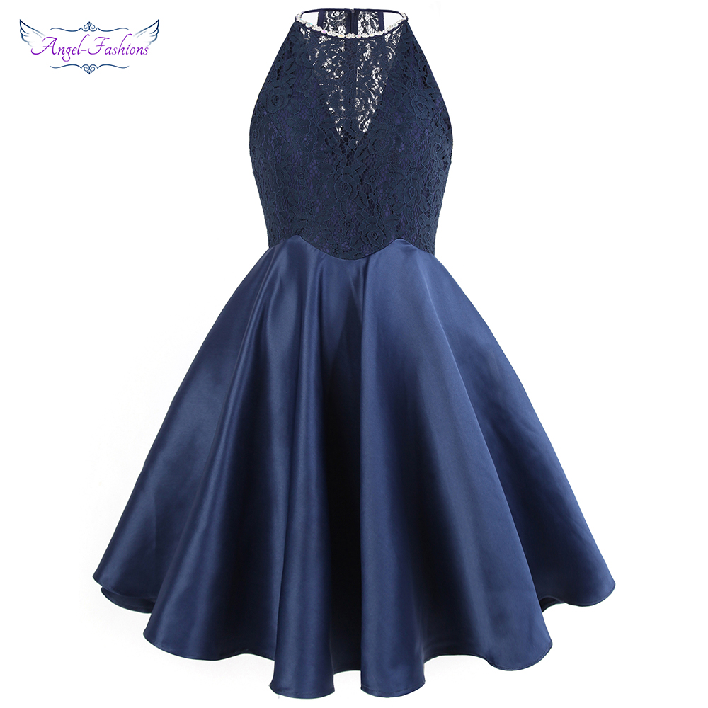 Angel-fashions Short Homecoming Dresses Halter Beading Lace See Through Satin Ball Gown Pink Blue 385