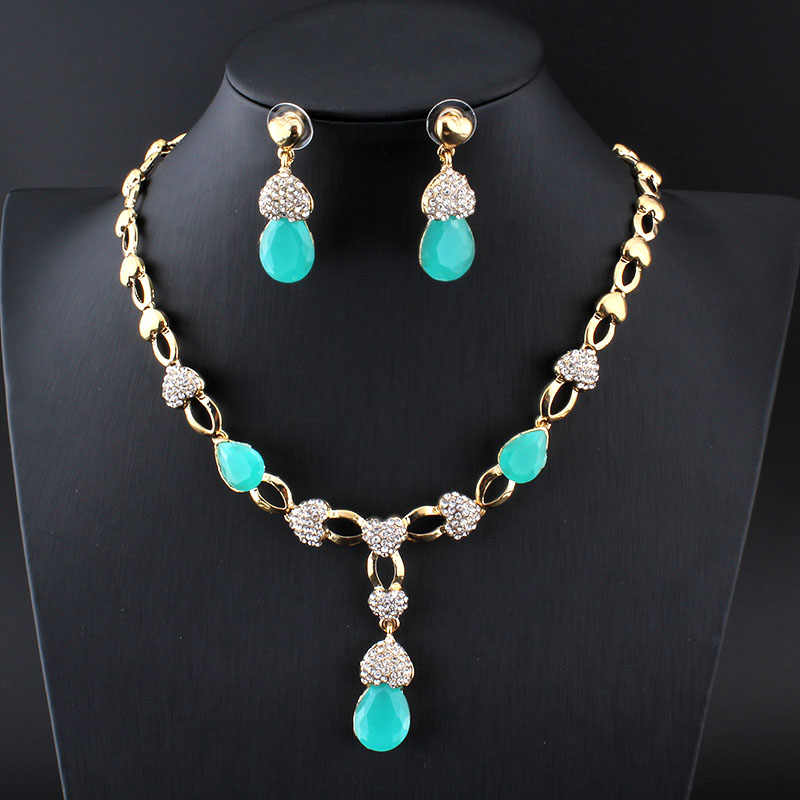 Jiayijiaduo Нигерия красивый женский свадебный ювелирный набор золотого цвета ожерелье серьги кристалл ожерелье Подарочные аксессуары