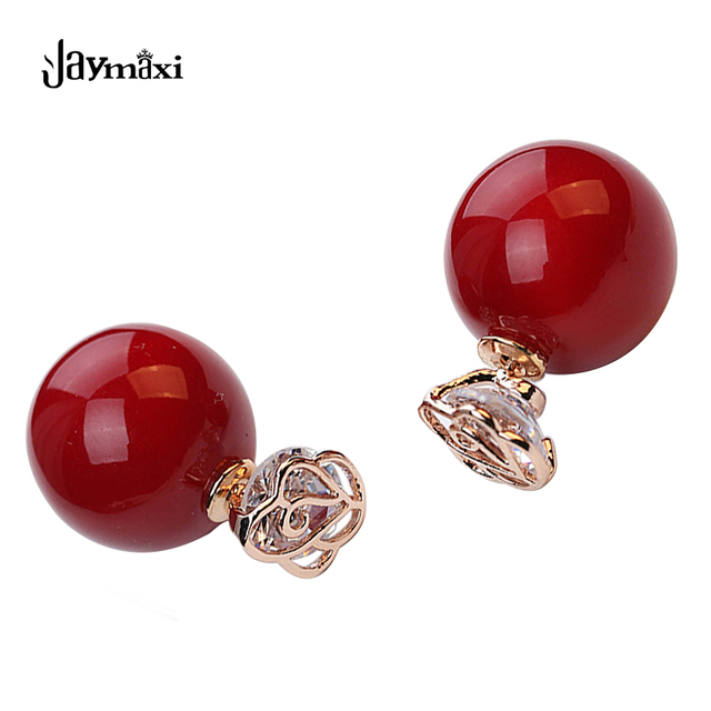 Jaymaxi Red Pearls Earrings Silver Plated Needle Crown Aaa Zircon Double Side Rose For Love