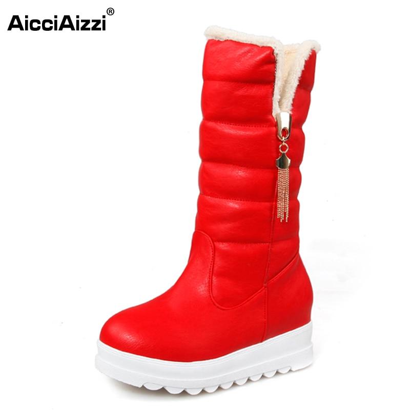 AicciAizzi Size 33 43 Women Wedges Mid Calf Boots Thick Fur Platform Short Boots Warm Fur