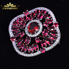 Stunning Imitated Garnet Red Square Flower Brooch Silver Tone Opens Oval CZ Domed Flat Design Floral Pins Broach Corsage Jewelry