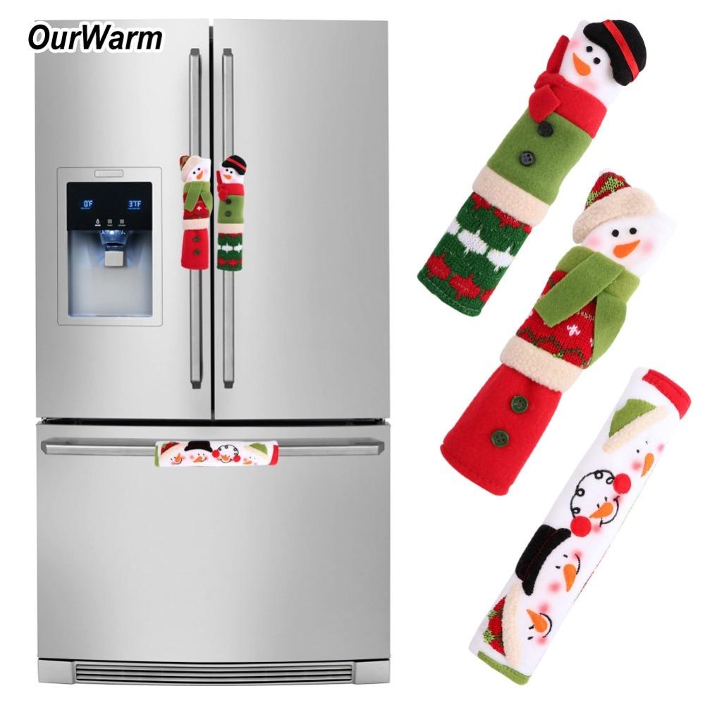 OurWar 3PCS/Set Snowman Kitchen Appliance Handle Covers Christmas Decor Kitchen Tools Microwave Door Refrigerator Handle Sets