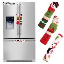 OurWar 3PCS/Set Snowman Kitchen Appliance Handle Covers Chri