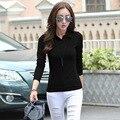 Поло рубашки на пуговицах простая черная рубашка-поло обычная топы поло femme поло femme женщины с длинным рукавом манга ларга хлопок