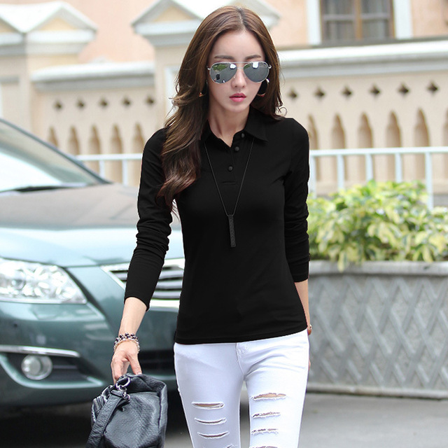 polo button down shirts plain black polo shirt plain tops  polos femme polos femme  women long sleeve manga larga cotton