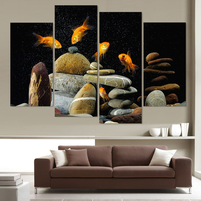 4 panel canvas art canvas painting fish aquarium stones hd printed