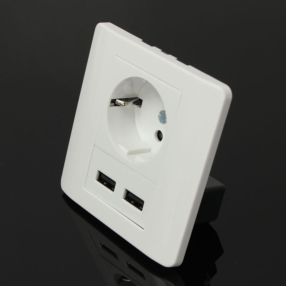 Beröringsströmbrytare 2100mAh Homekit väggladdare Adapter EU-kontakt Sockel Power Push-knapp Dubbel USB-port Utlopp Panel Interruptor Touch