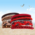 Women Boho Ethnic Multilayer Colorful Knitted Beads Magnet Button Bracelet