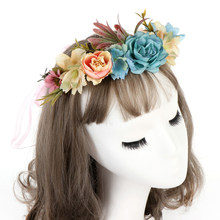 Fashion Bohemian Handmade Bunga Karangan Bunga Headband Halo Floral Crown Garland Headpiece Pernikahan Festival Pesta Bride Hiasan Kepala Baru(China)