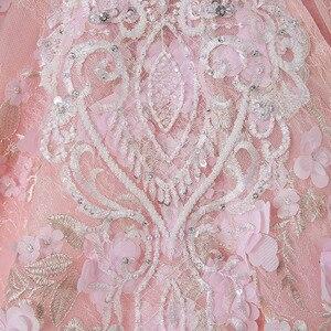 Image 5 - CloverBridal קריסטלים פניני חרוזים פאייטים פרחים רומנטיים ורוד צוואר o שרוולים שמלת כלה אלגנטית ארוכה 1 מטר רכבת