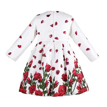 Girl Dress Princess Costume 2017 Brand Long Sleeve Christmas Dresses Kids Clothes Rose Flower Robe Fille Rapunzel Children Dress
