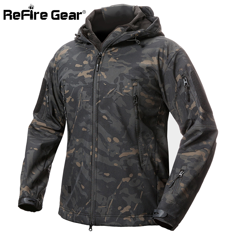 8d8d2331c0f4a ReFire Gear Shark Skin Soft Shell Tactical Military Jacket Men Waterproof  Fleece Coat Army Clothes Camouflage