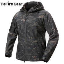 ReFire Gear Акула кожа мягкая оболочка Тактическая Военная куртка мужская водонепроницаемая флисовая куртка армейская одежда камуфляжная ветровка куртка