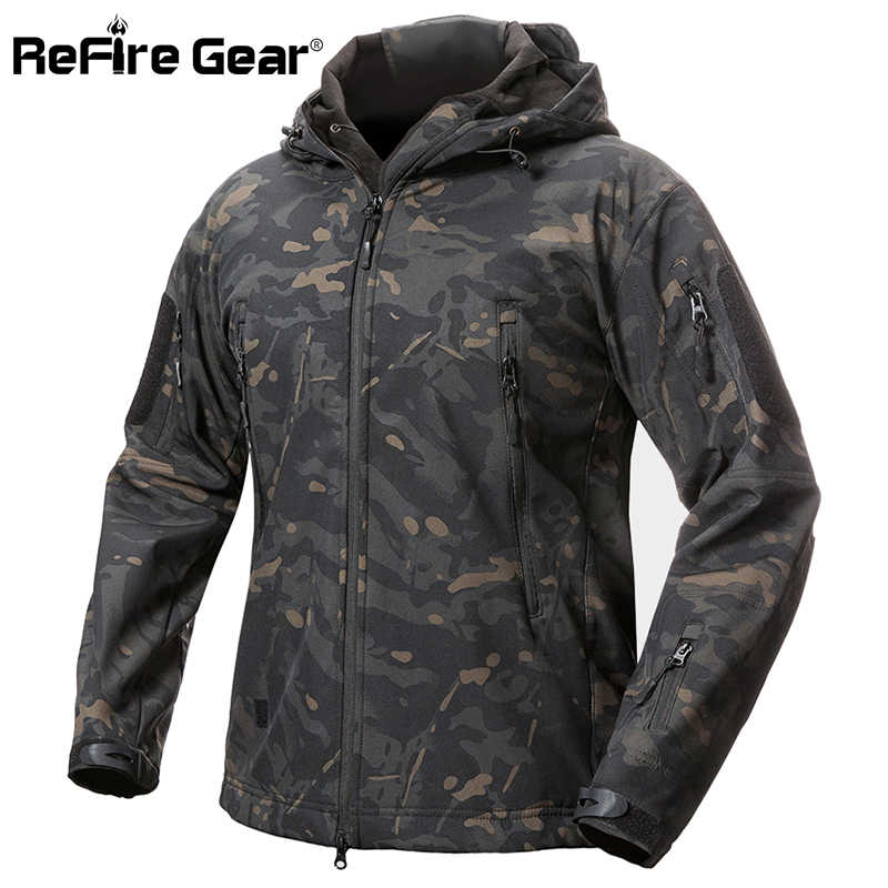 ReFire Gear Shark Skin Soft Shell Tactische Militaire Jas Mannen Waterdichte Fleece Jas Army Kleding Camouflage Windjack