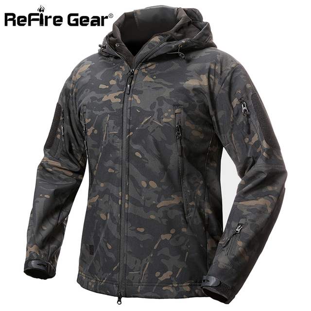 ReFire Gear Shark Skin Soft Shell Tactical Military Jacket Men Waterproof Fleece Coat Army Clothes Camouflage Windbreaker Jacket