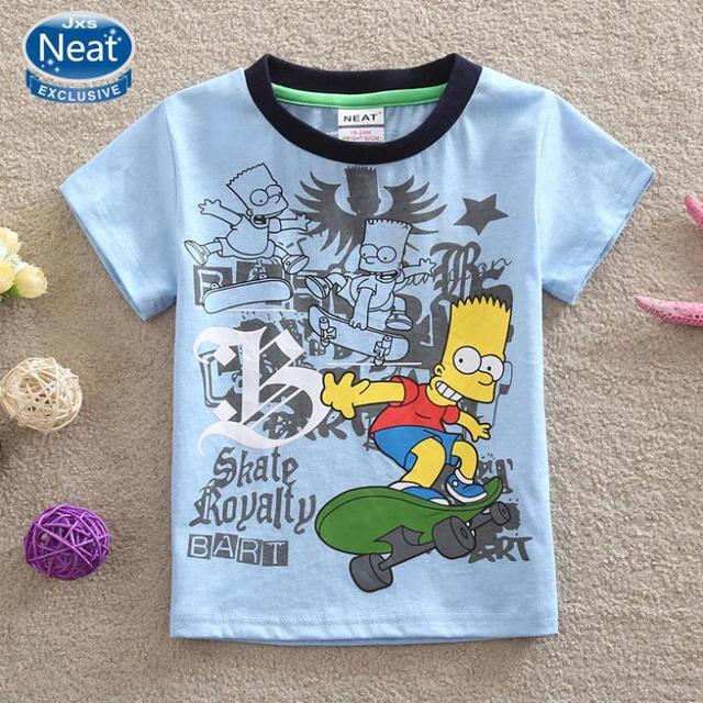 NEAT Nuevo 2016 bebé ropa niños ropa de caracteres de La Camiseta 100% algodón camiseta de manga corta niño ropa de los cabritos K1076