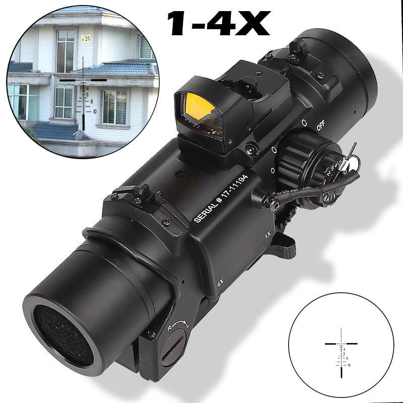 Professional Holographic Sight 1-4X Locomotive Shape Combination Red Dots Scope Sight for 20mm rail rifle airsoft outdoors