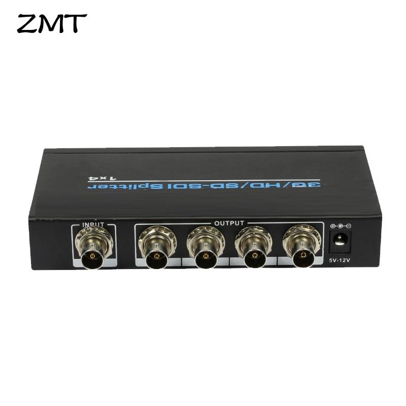 US EU 1x4 SDI Splitter Amplifier Converter SD SDI HD SDI 3G SDI Video Repeater Extender