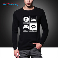 Funny New Fashion Eat Sleep Game Repeat Mens Gamer Funny T Shirt Custom Pattern Cotton Casual