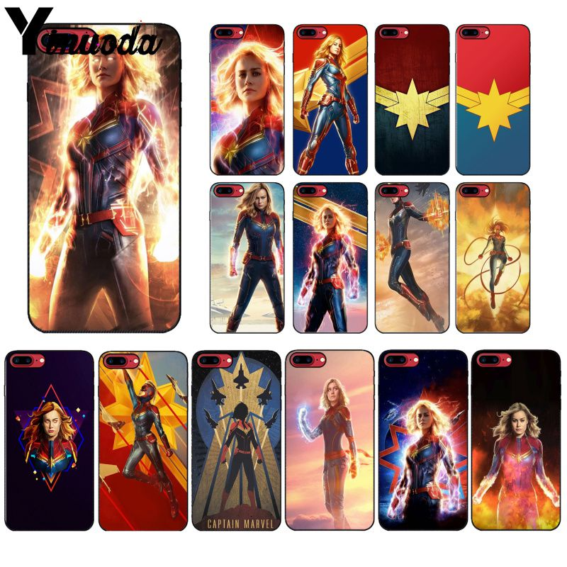 Yinuoda Captain marvel Colorful Cute Phone Accessories Case for iPhone 6S 6plus 7 7plus 8 8Plus X Xs MAX 5 5S XR