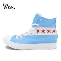 Wen Hand Painted Shoes Custom Design Chicago Flag City Skyline High Top Athletic Sneakers Men Women