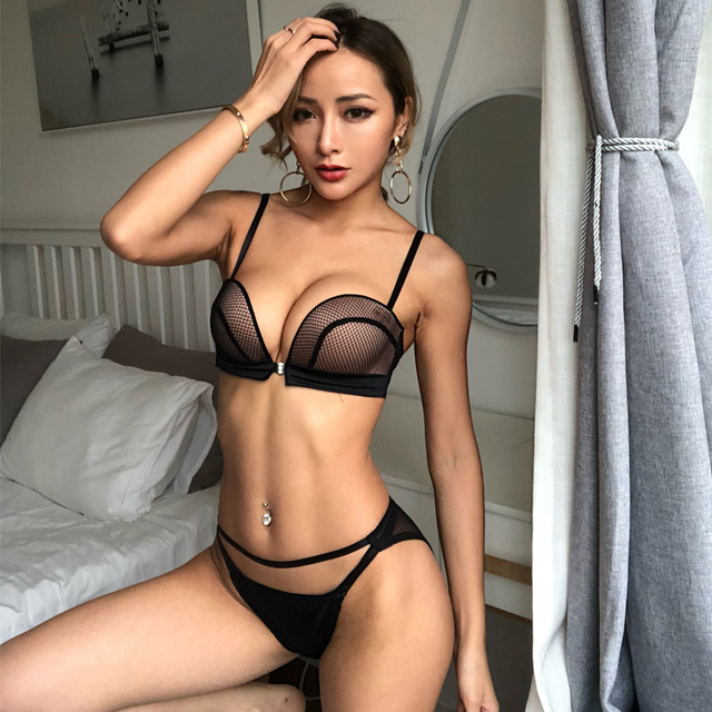 New Sexy Push Up Front Closure Lingerie Set Gathering Seamless Underwear 3/4 Cup Brassiere Women Bralette Bra And Panties Set 1
