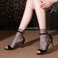 Sestito Summer Colored Rhinestone Mesh Hollow Women Boots Peep Toe Buckle Strap Stiletto Heel Ankle Zip Short Boots Women Shoes