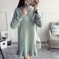 Newest Spring Autumn Turtleneck Hand Knitted Casual Thick Loose Long Over Knee Sweater SXH 1016 Free
