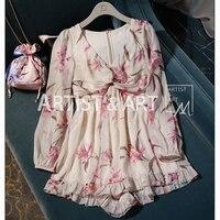 Svoryxiu дизайнерский бренд Лето Комбинезоны для малышек купальный костюм с шортами Женская Сексуальная V средства ухода за кожей шеи цветочны