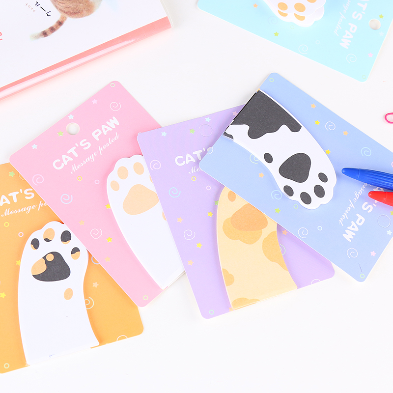 1Pack New Cute Kawaii Cartoon Meow Cat Paw Mini Memo Pad N Times Sticky Notes School Supply Bookmark Post it Label Gift E2115