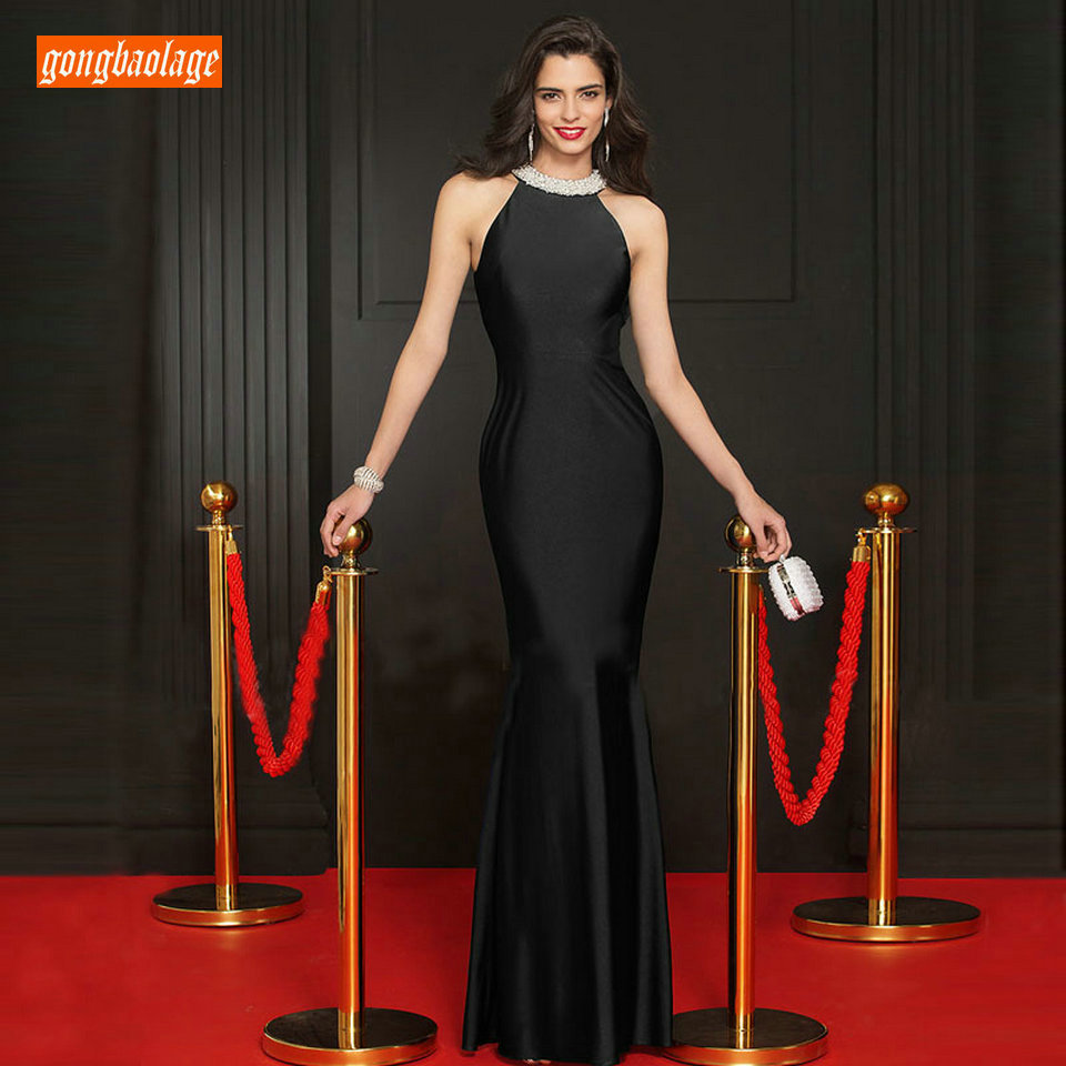 Lace Satin Evening Gowns Long Halter-Neck Elastic Mermaid Party Dress For Ladies