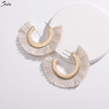 Joolim Jewelry Wholesale/7 Colors Hot Trendy Tassel Hoop Earring Statement Wholesale Big 6.5cm