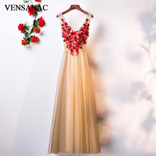 VENSANAC 2018 V Neck Lace Flowers Appliques A Line Long Evening Dresses Elegant Party Crystal Backless Prom Gowns
