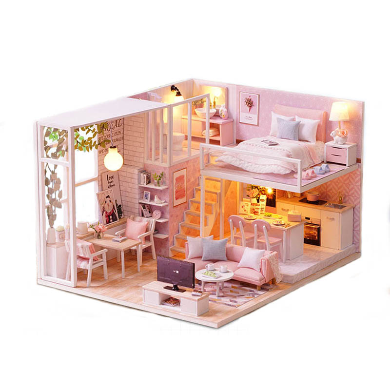 CUTE ROOM Miniature Wooden Doll House With DIY Furniture Toys for Kids Girls Handmade Blocks Gift Pink LOFT Life L022 loft house loft house p 139