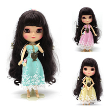 Subcluster 3 Pcs/Set  Lace Dress Flower Doll with Headband Necklace For 1/6 Blyth Accessories Cloth