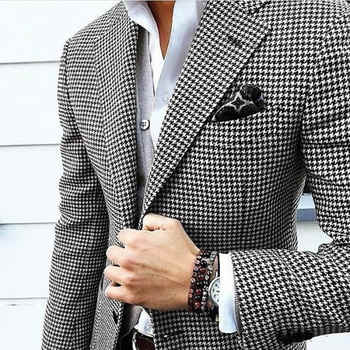 Mens Checkered Suit Houndstooth Custom Made Men Dress Suits,Tailored Casual Men Suits Duotone Weave Hounds Tooth Check,Dogstooth - DISCOUNT ITEM  0% OFF All Category